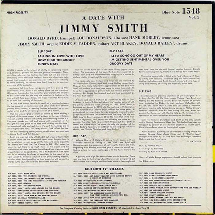 THE INCREDIBLE JIMMY SMITH - A Date with Jimmy Smith, Vol  2